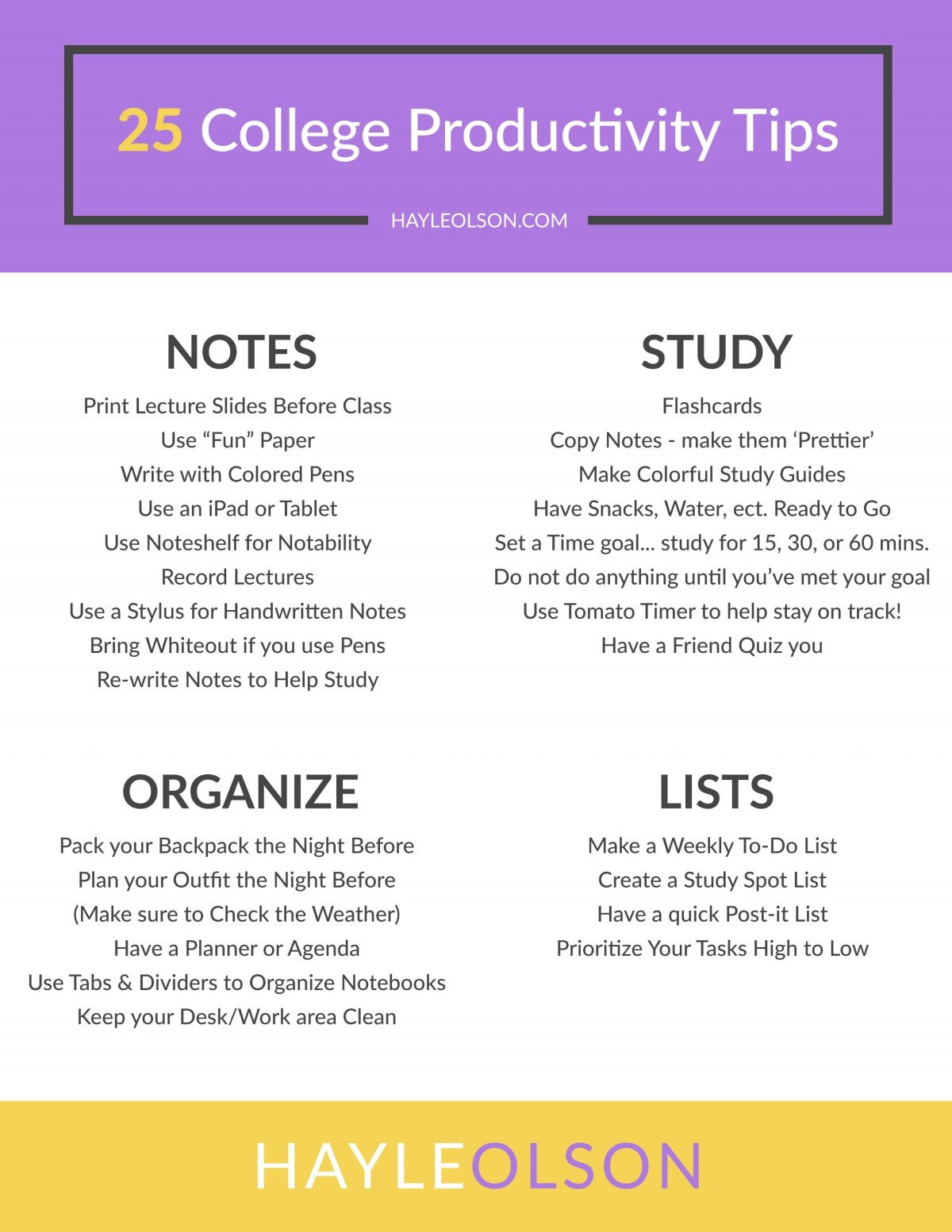 25 College Productivity Tips | College Tips | Hayle Olson | www.hayleolson.com