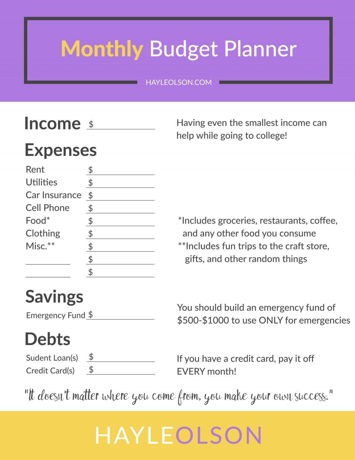 How To Make and Save Money in College + FREE Budget Planner ...